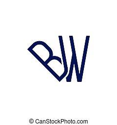 schwarzweiss, abzeichnen, vektor, brief, logo, verbunden, ikone