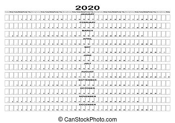 schwarzweiss, monat, 2020, landschaftsbild, planer, wand, ...