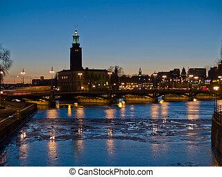 schweden, nacht, stockholm, szene