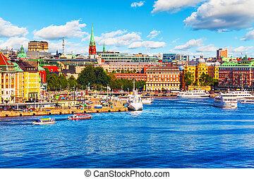 schweden, sommer, landschaftlich, stockholm, panorama