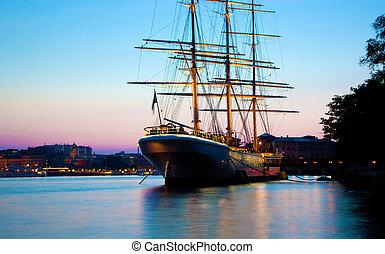 schweden, stockholm, schiff, sonnenuntergang