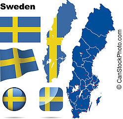 schweden, vektor, set.