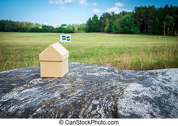 schwedische , sommer, wenig, haus, pappe, landschaftsbild