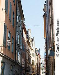 schwedische , straße, stockholm, eng
