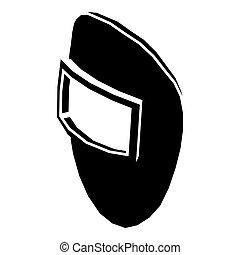 schweißen maske, ikone, einfache , schwarz, stil