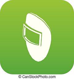 schweißen maske, ikone, grün, vektor