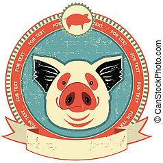 schwein, kopf, etikett, auf, altes , papier,...