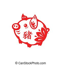 schwein, lunar, jahr, symbol
