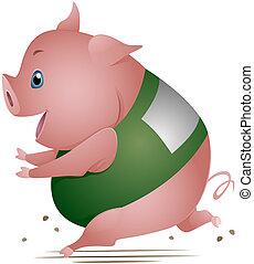 schwein, rennender