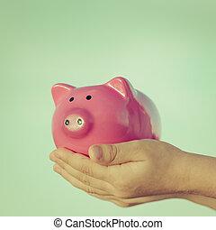 Schweinchen,  bank, Hände