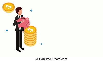 schweinchen, geldmünzen, spareinlagen, geschäftsmann
