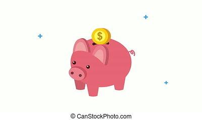 schweinchen, wirtschaft, geldmünzen, finanzen, spareinlagen