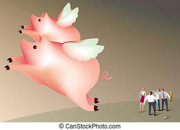 schweine, fliegen