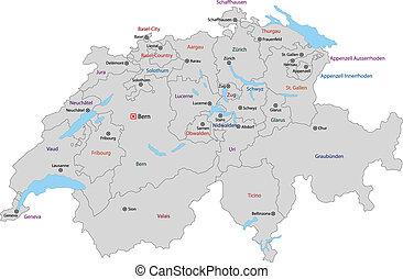 schweiz, grå, karta