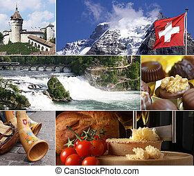 schweiz, grenzstein, collage