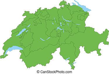 schweiz, karta, grön