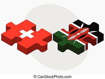 schweiz, kenia, flaggen