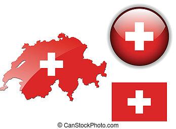 schweiz, landkarte, fahne, glänzend, bu