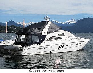 schweiz, motorboot, hafen, luzerne, luxuriös