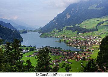 schweiz, panoramisch, grindelwald, dorf, ansicht