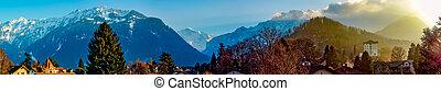 schweiz, panoramisch, interlaken, sonnenaufgang, ansicht