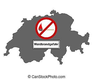 schweiz, verkehr, landkarte, zeichen, feuer, wald