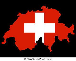 schweizerisch, landkarte, fahne, schweiz