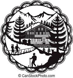 schweizerisch, wanderer, chalet, decoupage, alpin