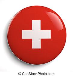 schweizerische markierung, weiß rot, kreuz