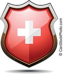 schweizisk, belægge, arme