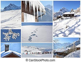 schweizisk, berömd, braunwald, skidåkning, tillflykt
