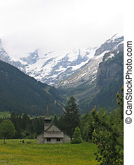 schweizisk, kyrka, in, alperna, schweiz