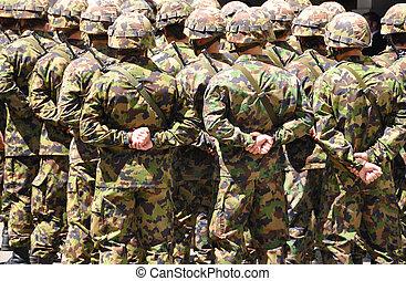 schweizisk, solders, ind, camouflage