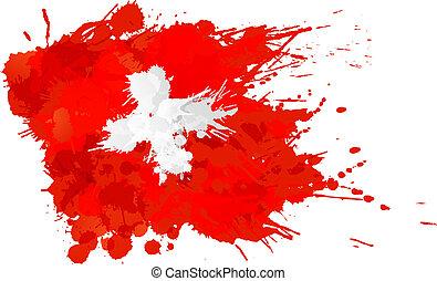 schweiziskor flaggar, gjord, stänk, färgrik