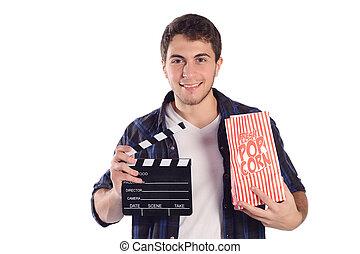 schwengel, board., popcorn, mann