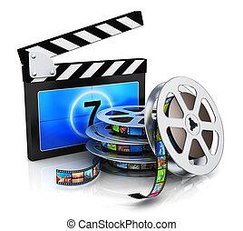schwengel, filmstrip, spule, brett, film