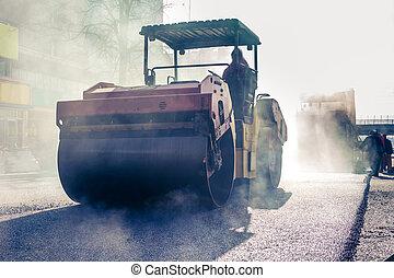 schwer , asphalt, vibration, bürgersteig, arbeiten, rolle