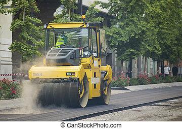 schwer , asphalt, vibration, bürgersteig, r, compactor, arbeiten, rolle