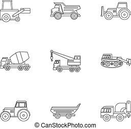 schwer , stil, grobdarstellung, satz, konstruktionsfahrzeug, ikone