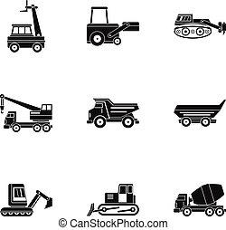 schwer , stil, satz, einfache , konstruktionsfahrzeug, ikone