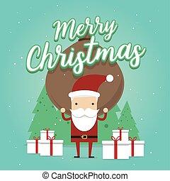 schwer , voll, weihnachtsmann, scene., tasche, trägt, fröhlich, gifts., weihnachten., karikatur