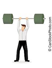 schwer , weight., begriff, heben, abbildung, willenskraft,...