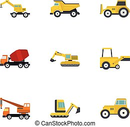 schwer , wohnung, stil, satz, konstruktionsfahrzeug, ikone