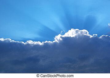 schwer , wolke, und, sonnenschein