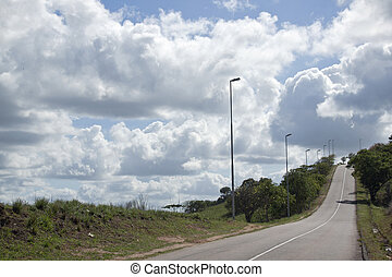 schwer , wolkenhimmel, hängender , aus, a, leerer ,...