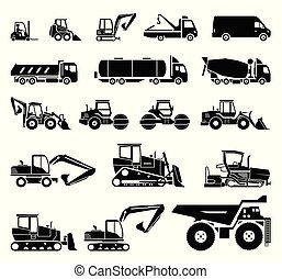schwerer satz, transport, equipment., machinery., baugewerbe, verschieden