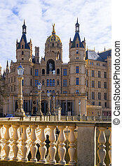 Schwerin Castle and blue sky with clouds, Mecklenburg Western Pomerania, Germany