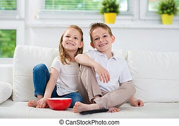 Schwester, Bruder, aufpassen, fernsehapparat, wenig,  couch