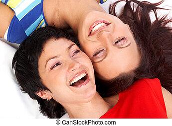 schwestern, lachender, glücklich