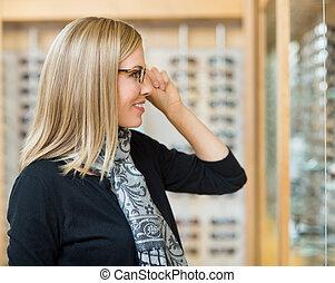 schwierig, frau, optiker, kaufmannsladen, Brille